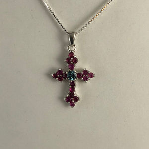Gem Emporium Accessories - Red Rubies Blue Zircon 925 Sterling Silver Cross